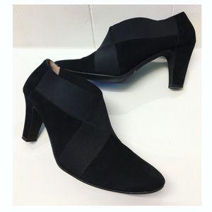 La Pointure | Suede + Bondage Ankle Heels In Black